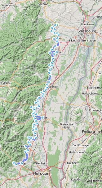 Carte route des vins Colmar